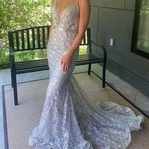 Jovani silver prom dress